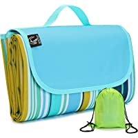 "REDCAMP XXL Waterproof Picnic Blanket Extra Large - 79""x79""/75"", Durable Oxford Foldable Outdoor Picnic Mat with Tote and Bag, Blue Green Yellow Red"