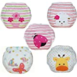 Baby Toddler Girls Cute 5 Pack Potty Training Pants Reusable Underwears Cloth Diapers