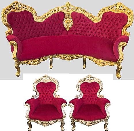 Casa-Padrino Barroco sofá diseño Burdeos/Dorado + 2 sillones ...