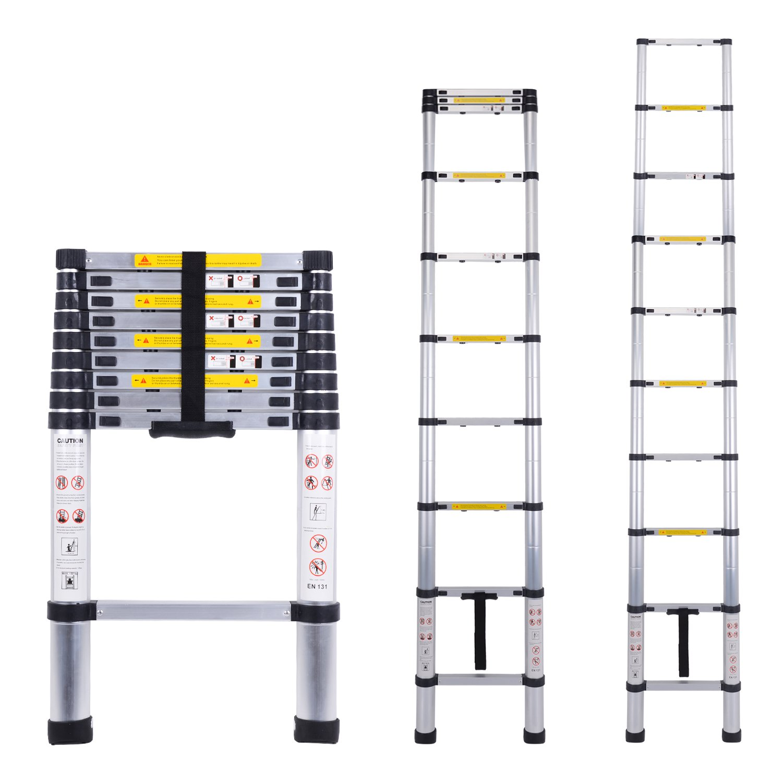 Myifan Telescopic Ladder Multi-Purpose Aluminium Telescoping Ladder Extension Extend Portable Ladder Foldable Ladder EN131Standards (2.9M/9.5Ft)