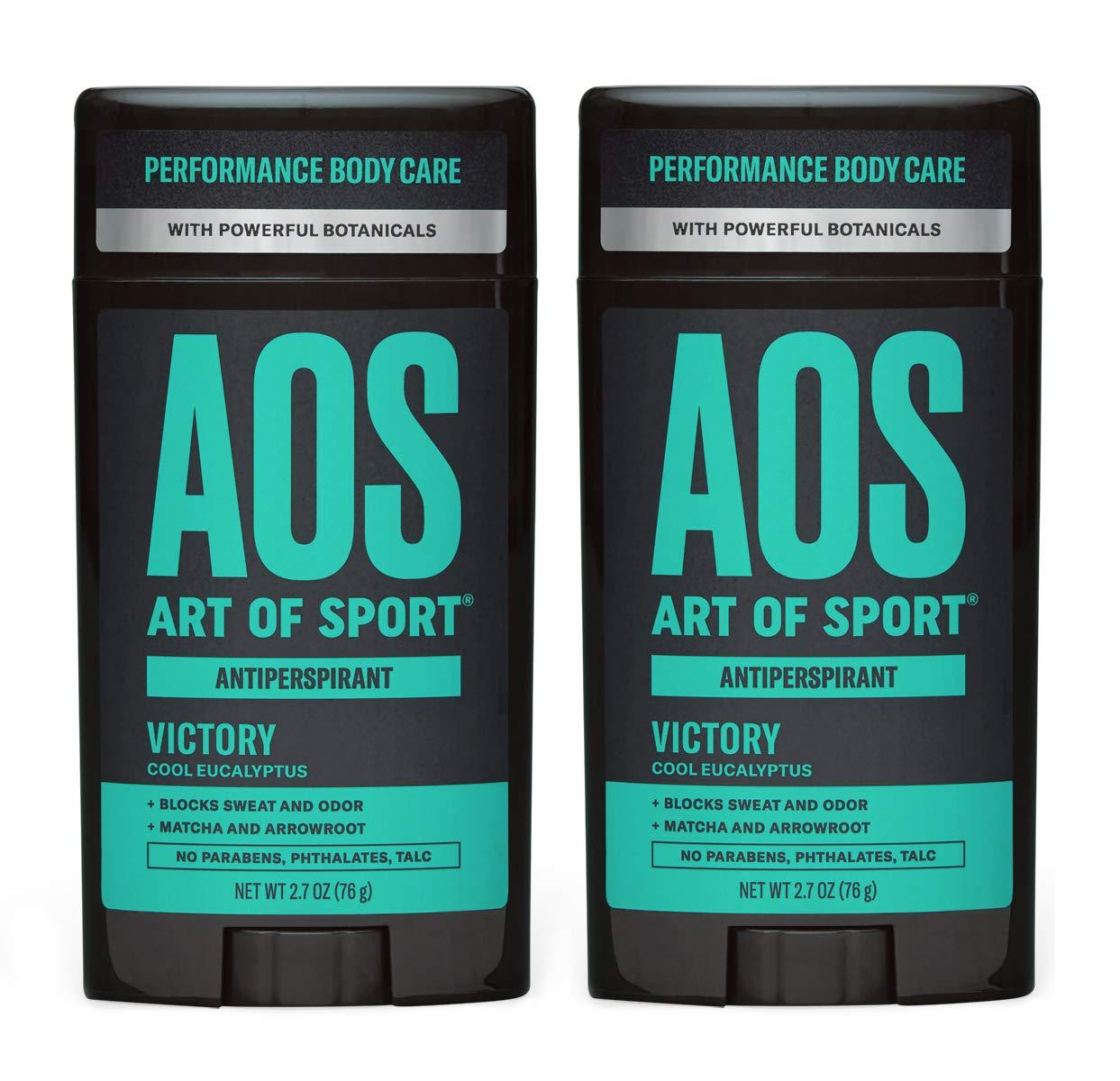 Art of Sport Men's Antiperspirant Deodorant (2-Pack) - Victory Scent - Antiperspirant for Men with Natural Botanicals Matcha and Arrowroot - Energizing Citrus Fragrance - Made for Athletes - 2.7oz