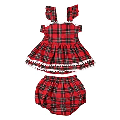 Wongfon Girls Baby Lattice Tops Suspender Skirt Dress + Shorts Summer 2 Pcs  Clothing Outfit for 2e0c5bc3f617