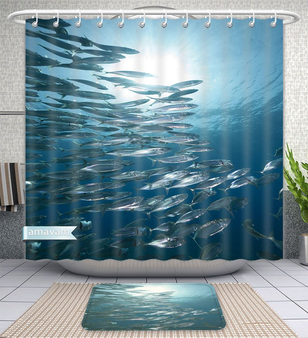 Amavam Bathroom 2-Piece Suit Mackerel School Feeding Shower Curtains And Bath Mats Set, 60'' Wx72 H & 23'' Wx16 H