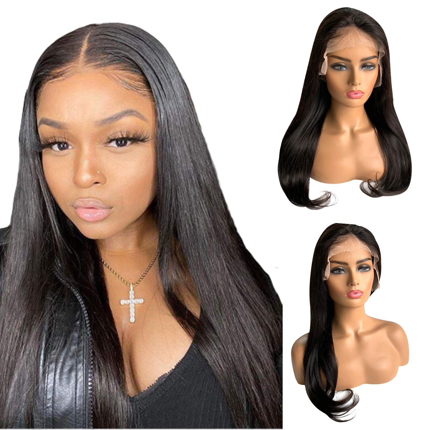 Amazon Com Black Lace Frontal Human Hair Wig 14 Inch Layered Straight Lace Front Wigs 150 Density Natural Color Pre Plucked With Baby Hair Beauty