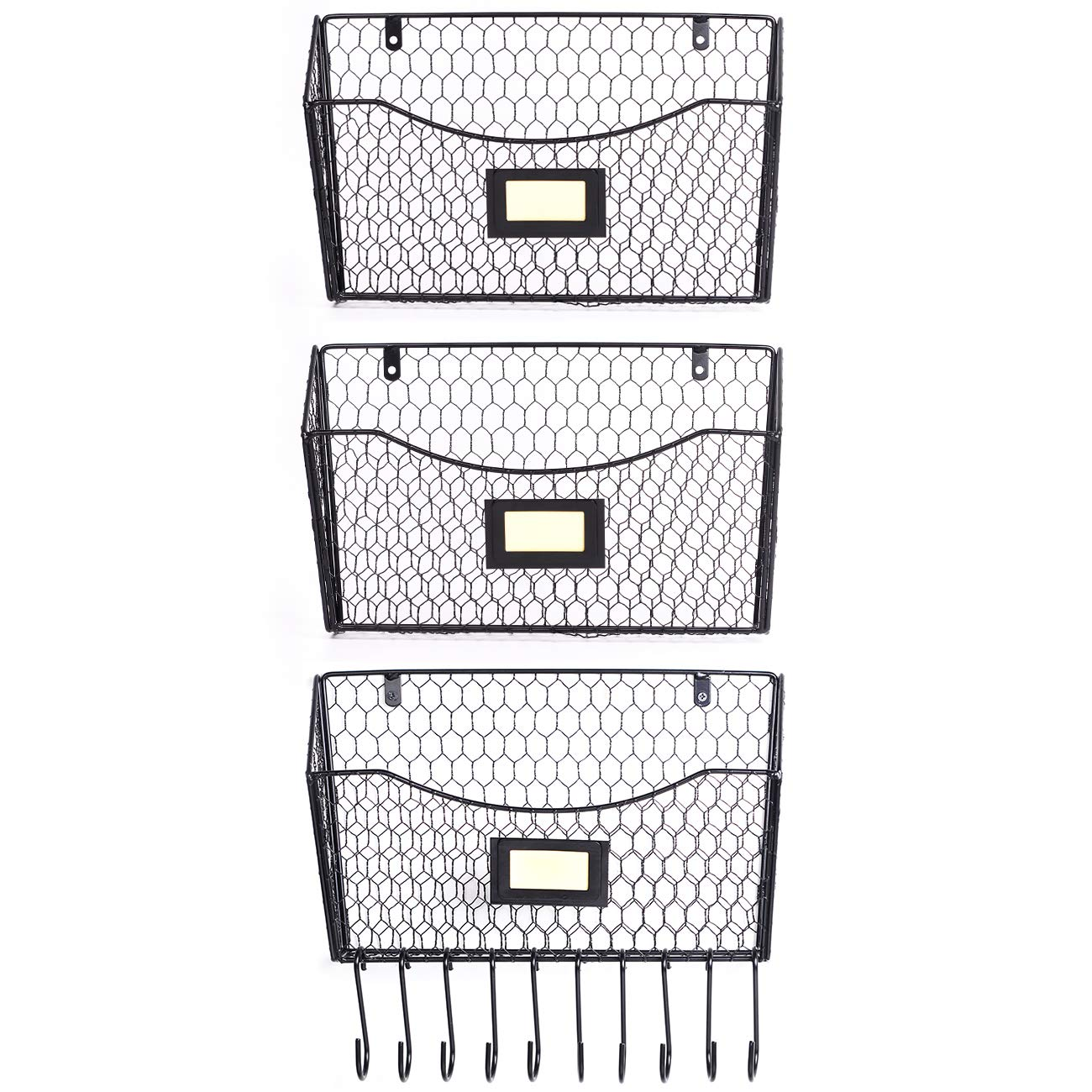 3 Pack Wall Mounted File Holder Hanging Mesh Metal Basket Wire Magazine Rack Shelf with 10 Accessory Hooks Name Tag Slot(Black)