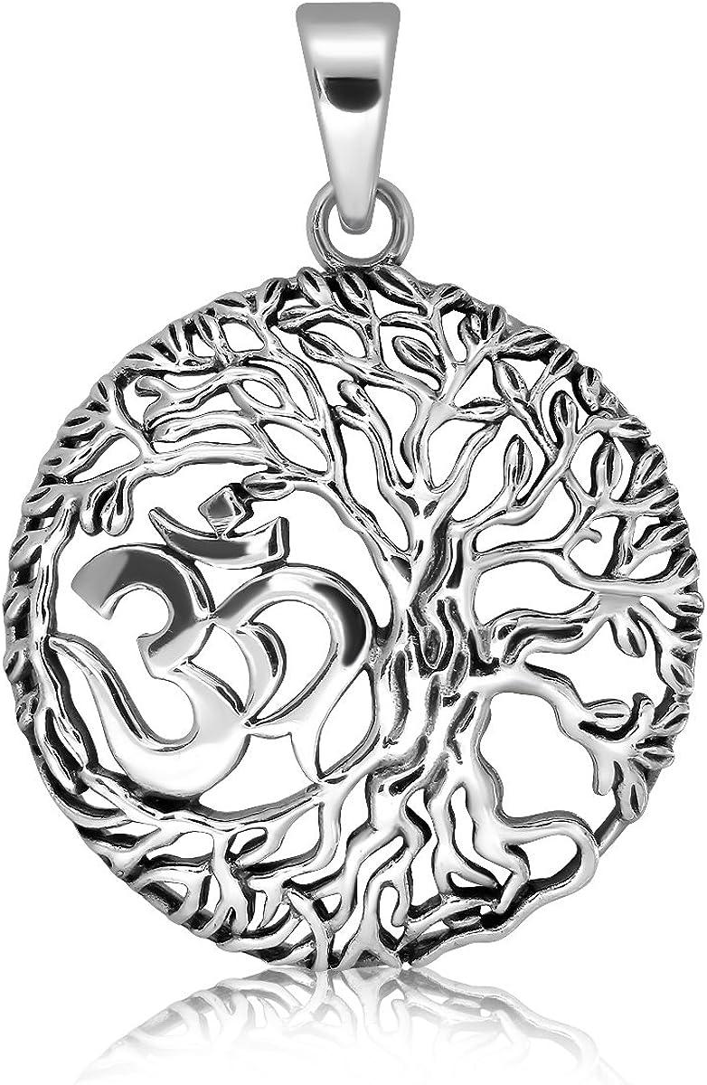 Sistrakno Argent sterling 925/OM AUM Devanagari Tibet tib/étain en filigrane Motif arbre de vie celtique Pendentif