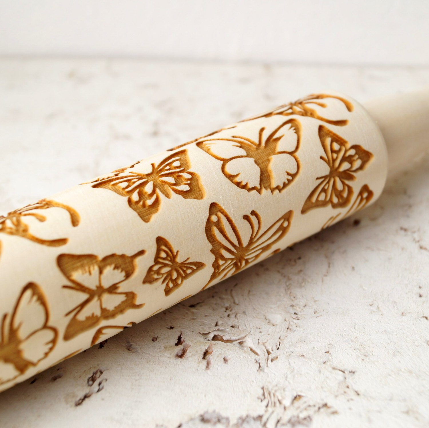 Embossing rolling pin Butterflies, wooden rolling pin, Cookies decorating roller, Laser engraved rolling pin