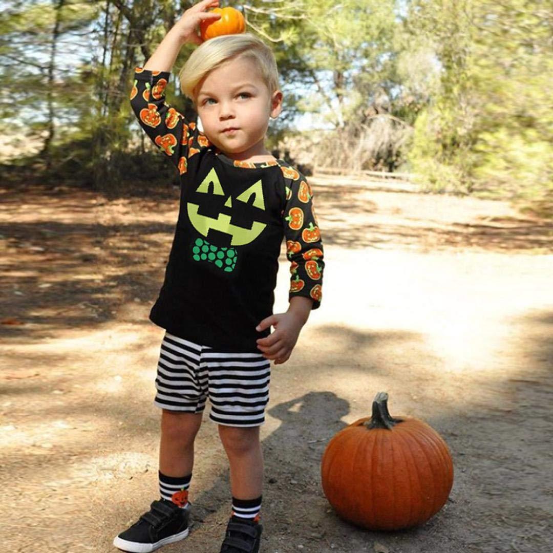 Matoen Toddler Baby Girls Boys Long Sleeve Cotton Halloween Pumpkin Tops