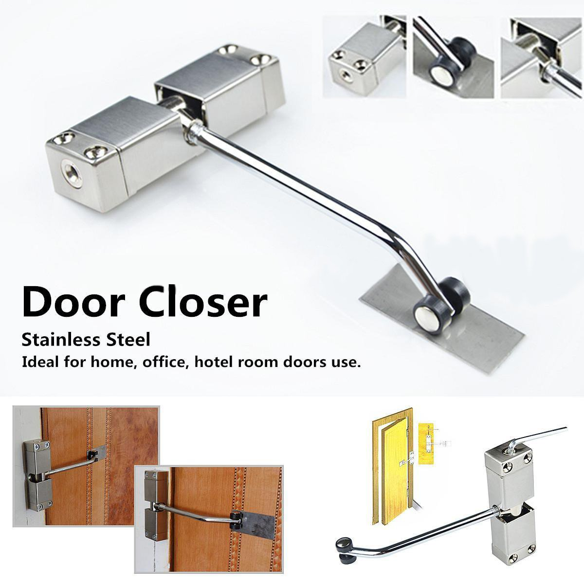 SIXDEFLY Automatic Mounted Spring Door Closer Stainless Steel Adjustable Surface Self Closing for Residential/Commercial Use by SIXDEFLY (Image #5)