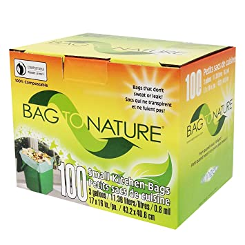 Biodegradable And Compostable Mini Kitchen Garbage Bags For Countertop Food Waste Compost Bins By Bag To Nature 100 Count