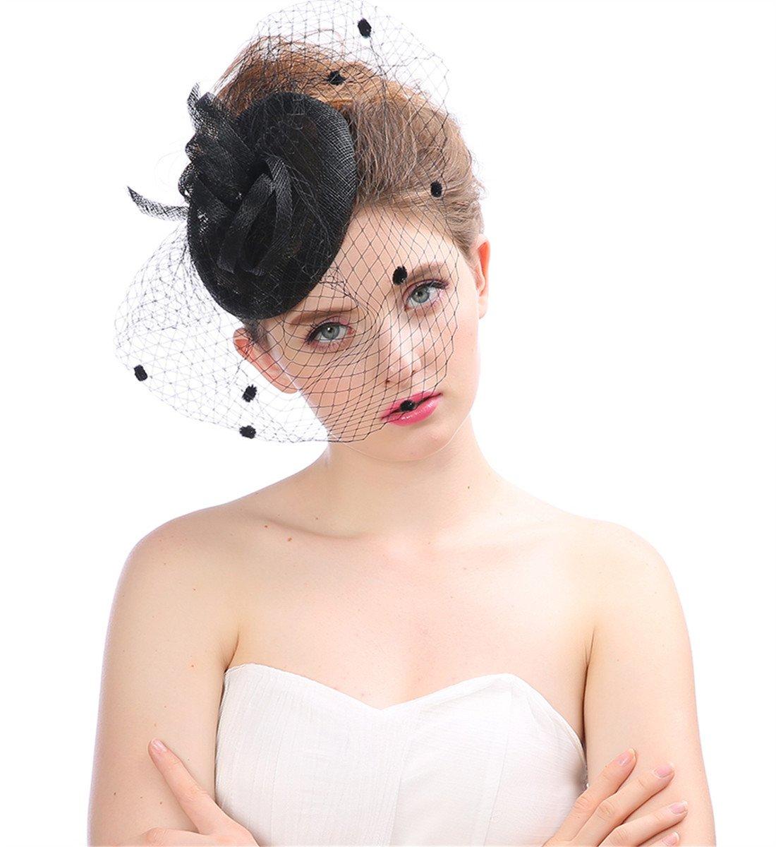 VERNASSA Hair Clip Hat Fascinator Hair Clip Pillbox Hat Bowler Veil Wedding Party Hat