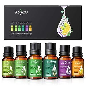 Essential Oils Set - Anjou Aromatherapy Essential Oil Top 6 10ml Pure & Therapeutic Grade for Diffuser Massage Yoga Auto Office