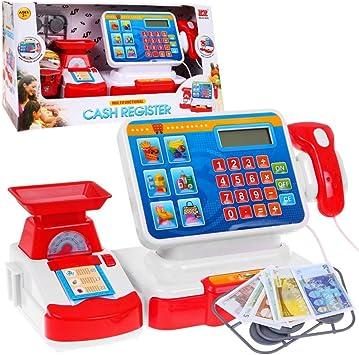 BSD Juego de Imitación, Caja Registradora para Niños, Caja Registradora de Juguete, Caja de Supermercado con Calculadora, Pantalla Táctil, Escáner, Cesta la Compra y Accesorios: Amazon.es: Juguetes y juegos