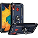TERSELY Case with Metal Plate Ring [Magnetic Support] Holder Kickstand for Samsung Galaxy A20, Full Protective Silicone TPU Gel Dual Shockproof Tough Armour Defender Cover for Samsung A20 (Navy Blue)