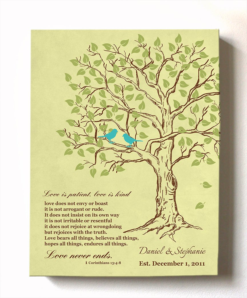 MuralMax - Personalized Anniversary Family Tree Artwork - Love is Patient Love is Kind Bible Verse - Unique Wedding & Housewarming Canvas Wall Decor Gifts - Color Yellow # 1 - Size 12 x 16