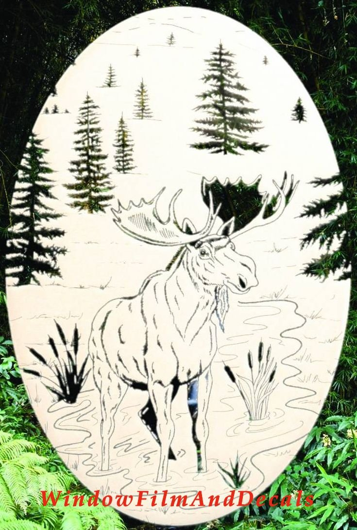 Moose Scene Oval Etched Window Decal Vinyl Glass Cling - 21'' x 33'' - White with Clear Design Elements by Vinyl Etchings