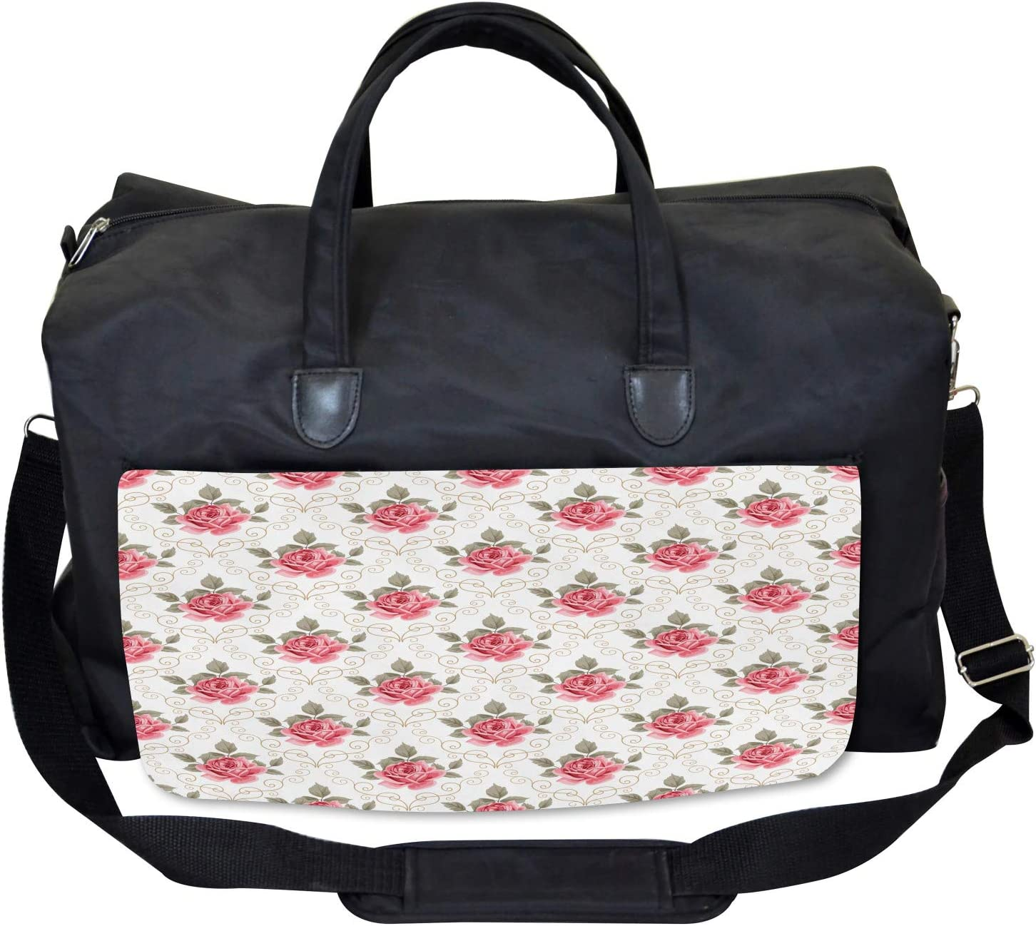 Ambesonne Flower Gym Bag Romantic Shabby Chic Large Weekender Carry-on