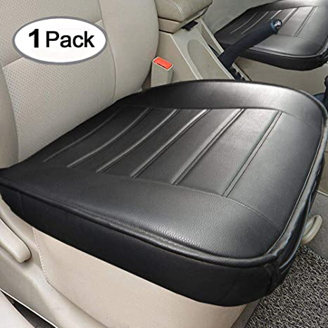 Car Seat Cushion Edge Wrapping Car Front Seat Cushion Cover Pad Mat For Auto Supplies Office Chair With Pu Leather Black