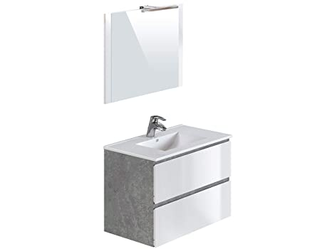 Waschbecken Amazon.Amazon Marke Movian Argenton Waschtisch Mit Spiegel Und Waschbecken 81 X 46 5 X 57 Cm Grau