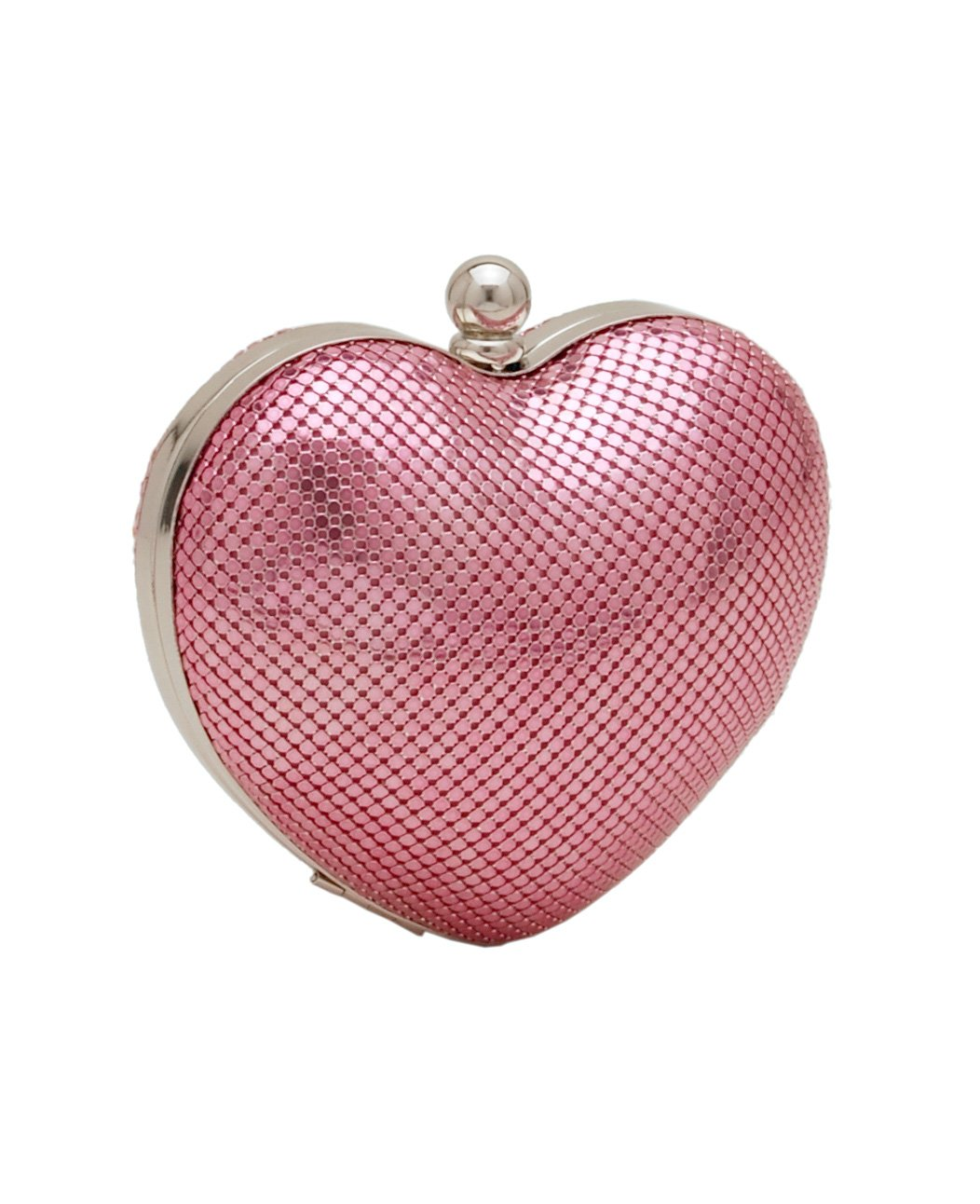 Whiting & Davis Women's Charity Heart Clutch, Pink, One Size