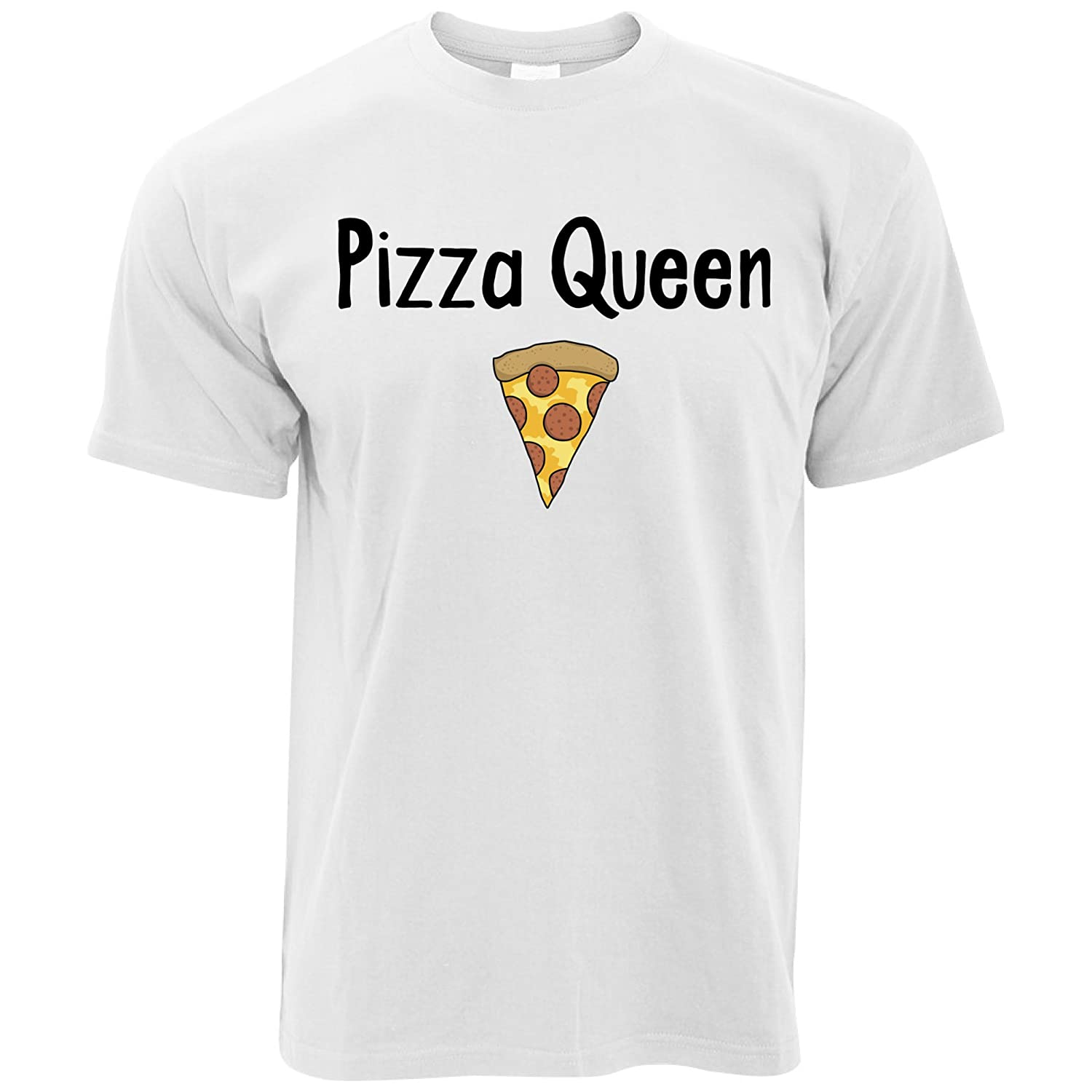 Tim And Ted Funny Food T Shirt Pizza Queen Slogan with Slice