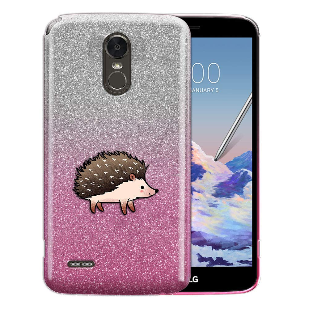 FINCIBO Case Compatible with LG Stylo 3 Stylus 3 LS777 / Stylo 3 Plus, Shiny Sparkling Silver Pink Gradient 2 Tone Glitter TPU Protector Cover Case for LG Stylo 3 Stylus 3 - Walking Hedgehog