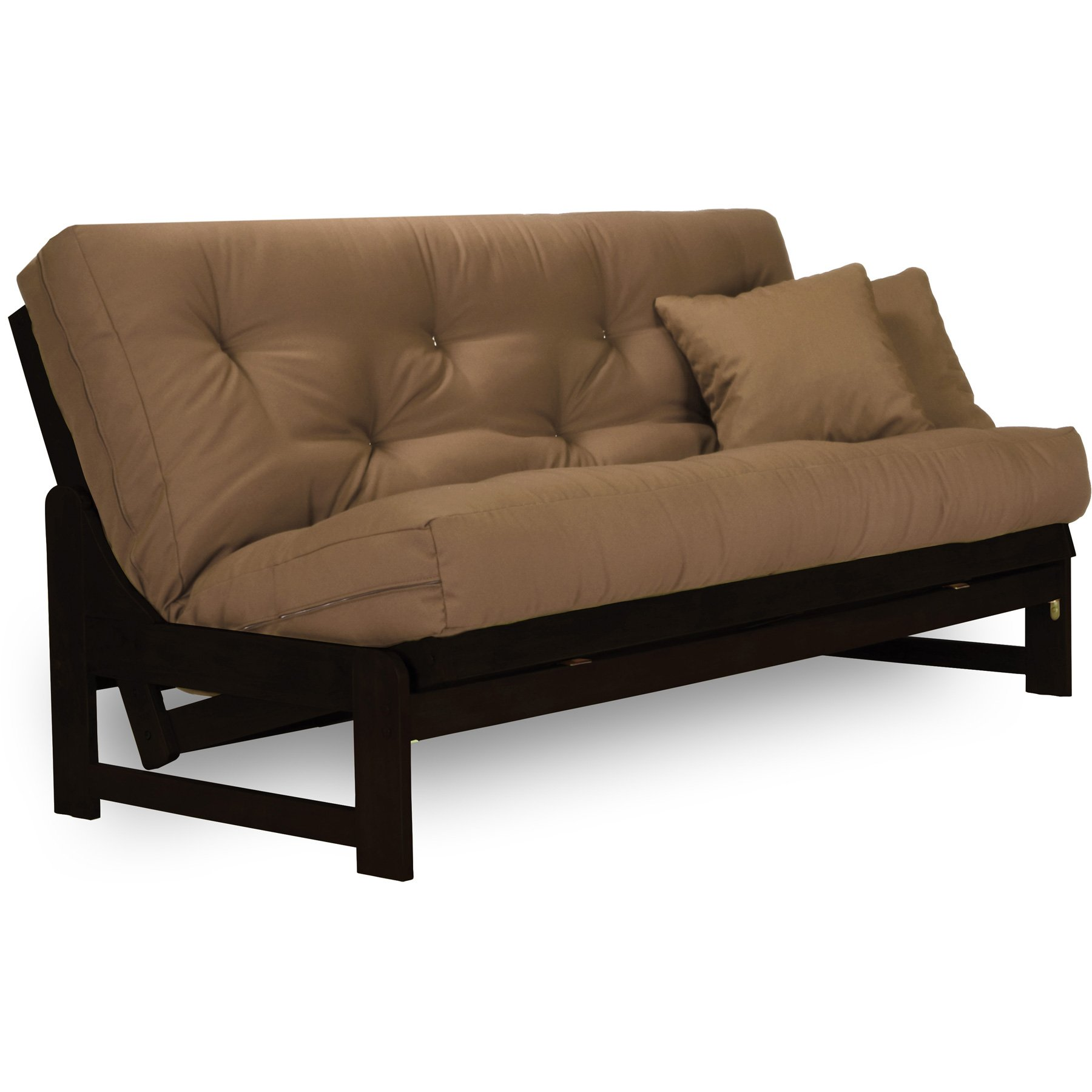Arden Dark Espresso (Near Black) Futon Set Queen Size - Armless Futon Frame with Mattress (Microfiber Sussex Khaki), More Mattress Colors & Sizes Available, Space Saving Modern Sofa Bed Sleeper