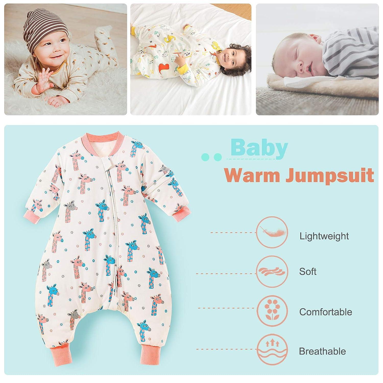 Baby Schlafsack mit Beinen Warm Gef/üttert Overall Baumwolle Schlafstrampler Abnehmbare Langarm Winterschlafsack-80-Ananas