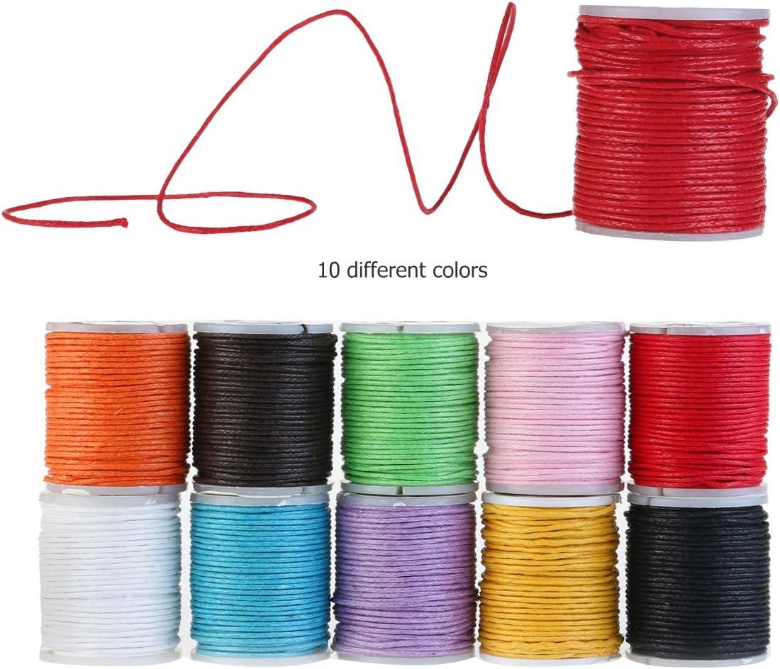 10M 1mm Coton Ciré Corde Fil Macramé Collier Bracelet Artisanat Bijoux Rouge