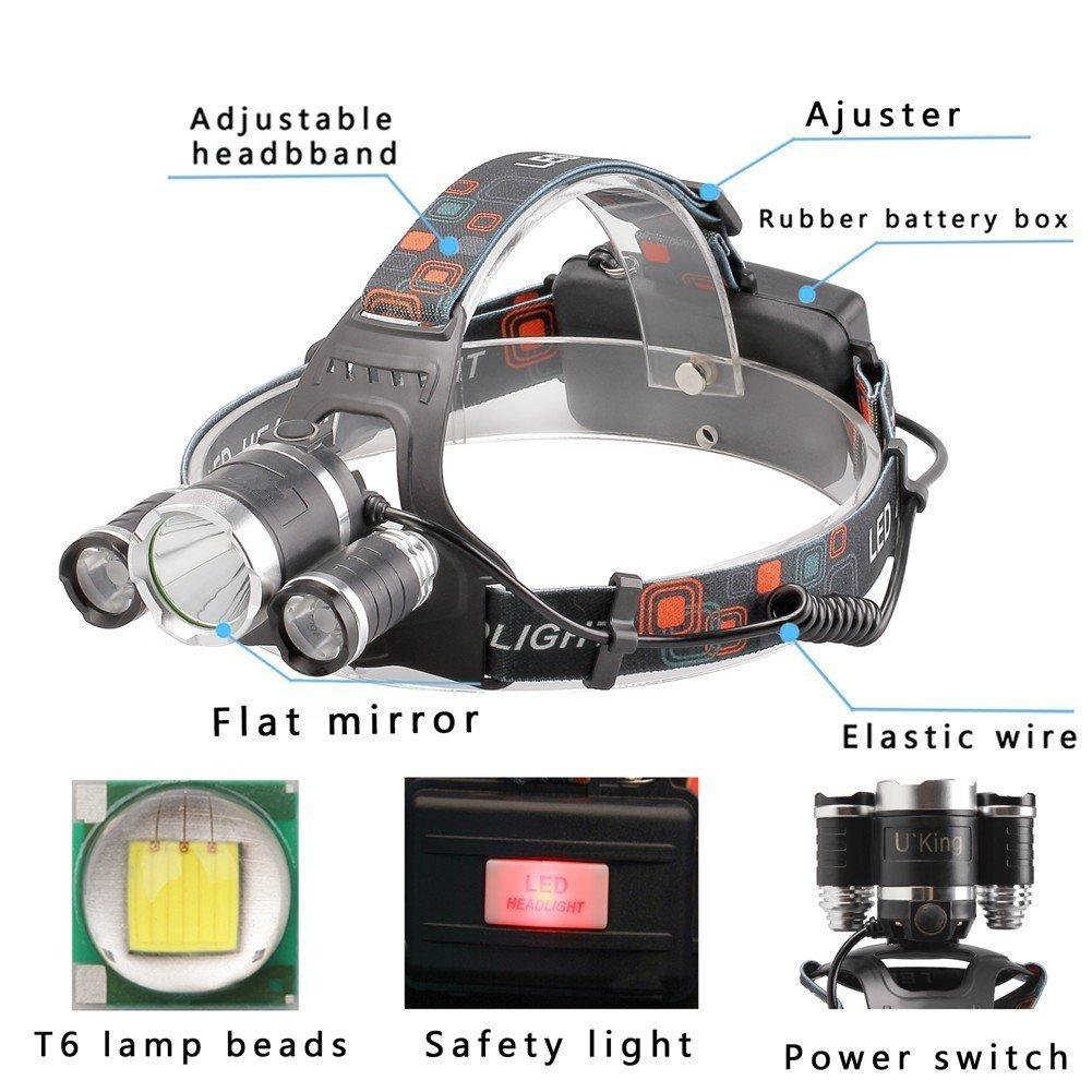 Running or Camping headlamps UVER UV-009 Rechargeable 18650 headlight flashlights Waterproof Hard Hat Light Brightest and Best LED Headlamp 10000 Lumen flashlight- IMPROVED LED Bright Head Lights