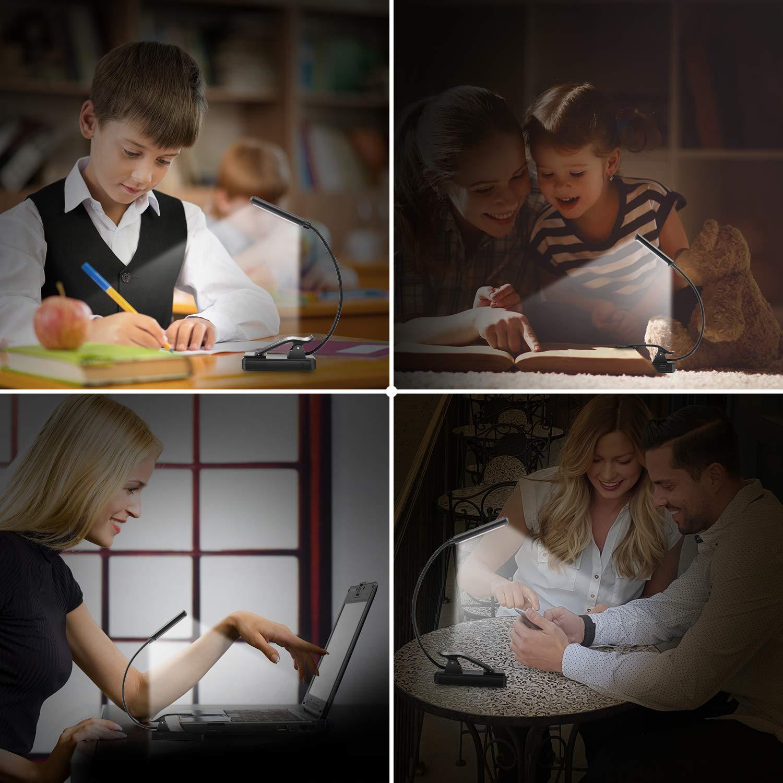 9 LED Luz de Lectura Libro, YINSAN Lampara Lectura Recargable con Sensor Táctil, 3 Modos de Brillo Ajustable (Luz Cálido y Blanco), Luz Pinza Libro para Lectores Noche, E-Reader, Estudio, Cama, Tablet