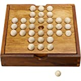 Sumnacon Wooden Peg Solitaire Board Game, Mini High Q Brain Teaser Board Games, Traditional Challenging Board Game for Kids and Adults