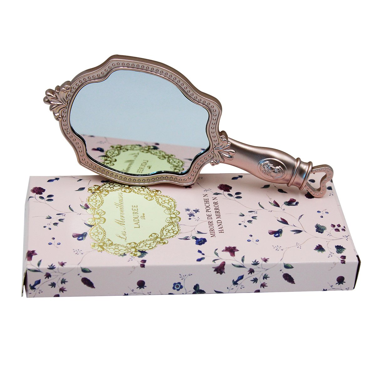 BabyPrice Vintage Hand Mirror with Handle - Princess Portable Small Handheld Floral Embossed Mirror