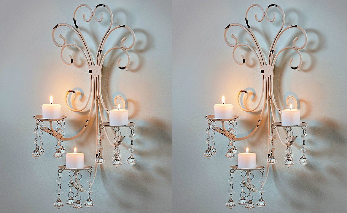 Set of 2 Wall Chandelier Candle Holder Sconce Shabby Chic Elegant Scrollwork Decorative Metal Vintage Style Decorative Home Accent Decoration knl store