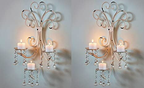 new style d84a5 760ca Set of 2 Wall Chandelier Candle Holder Sconce Shabby Chic Elegant  Scrollwork Decorative Metal Vintage Style Decorative Home Accent Decoration