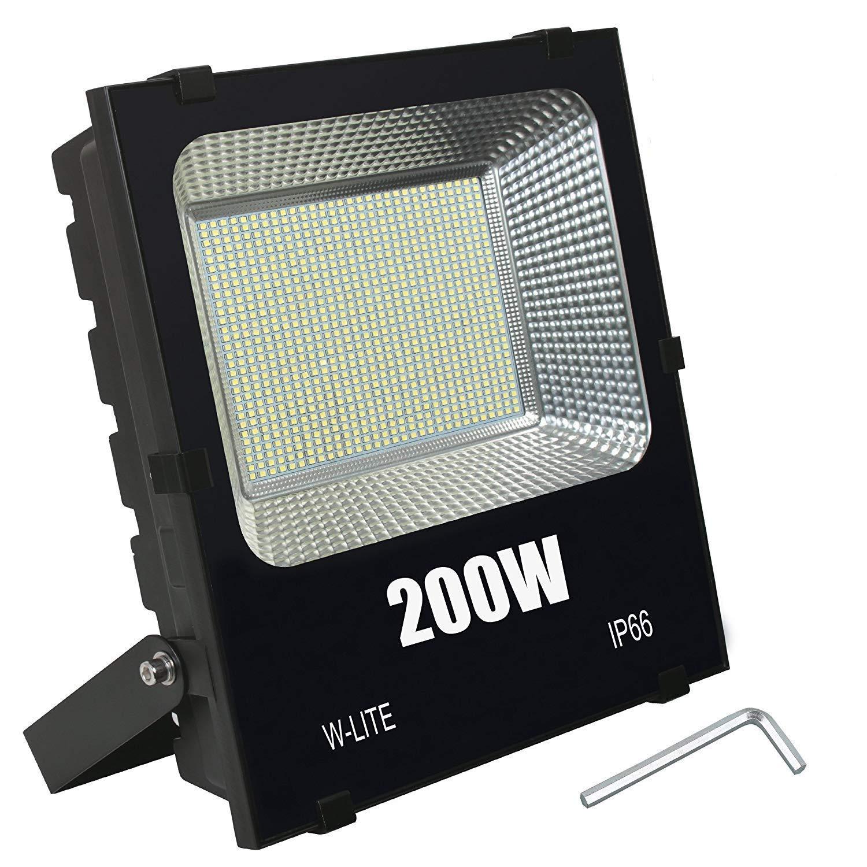 Outdoor LED Flood Light Fixture-200W Super Bright Outside Security Lamp, Waterproof Exterior Lighting for Basketball, Garden, Backyard, Garage, Warehouse, Commercial, Camping, Daylight 110V-240V