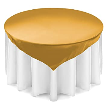 Amazon Lanns Linens Satin Overlay Table Topper 72 Square
