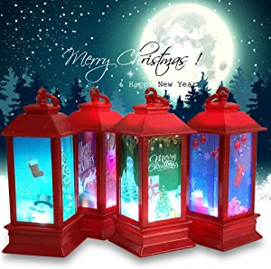 Christmas Lantern - Xmas Night Lighthouse Snow Globe Lantern, Hand-Hold Christmas Globes Lamp Water Lantern, LED Lighted Glitter Water Lantern Christmas Home Decorations/Gift Party Props (Santa)