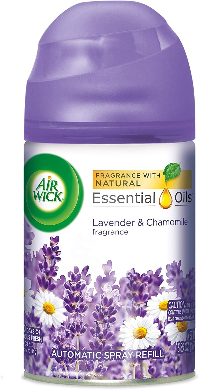 Air Wick Pure Freshmatic Refill Automatic Spray, Lavender & Chamomile, 1ct, Air Freshener, Essential Oil, Odor Neutralization, Packaging May Vary