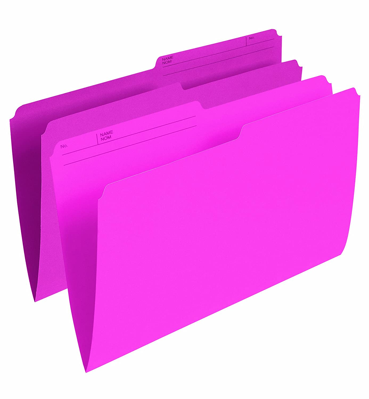 Pendaflex Colour File Folders, 1/2 Cut Tab, Legal, Pink, 100/Box R615 PNK