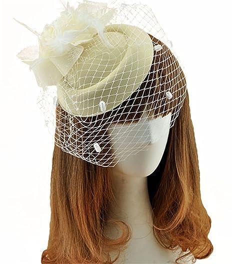 3b8d2d7e51 Fascinator Hats Pillbox Hat British Bowler Hat Feather Flower Veil Wedding  Hat (Beige )
