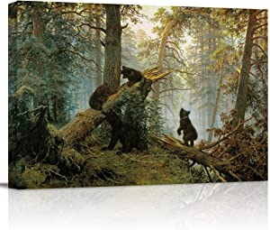 "Canvas Wall Art - Black Bears Playing on Fallen Broken Tree - Modern Wall Decor Gallery Canvas Wraps Giclee Print Stretched and Framed Ready to Hang - 12"" x 16"""