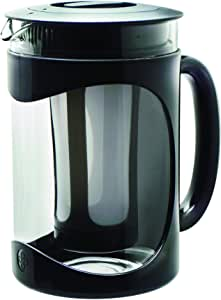 Primula Burke Cold Brew Coffee Maker 1500 ml, temperature safe borosilicate glass carafe, durable pot for iced coffee, iced tea and fruit infused water (colour: clear/black)