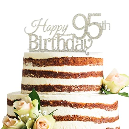 Amazon Glitter Silver Acrylic Happy 95th Birthday Cake Topper