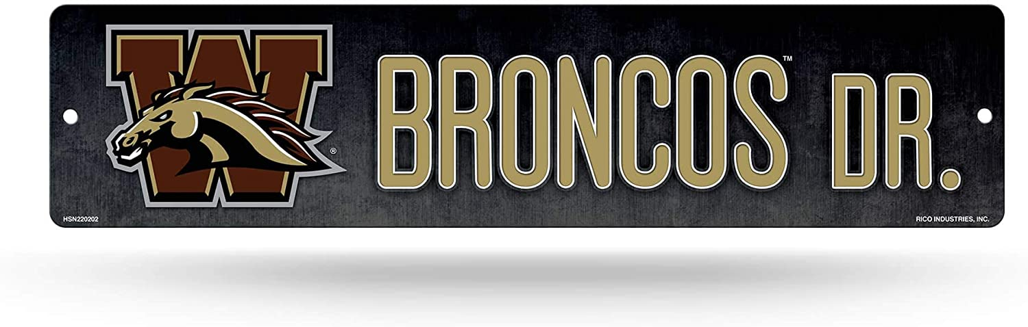 NCAA Rico Industries 16-Inch Plastic Street Sign D/écor 3.75 x 16-inches Western Michigan Broncos Team Color