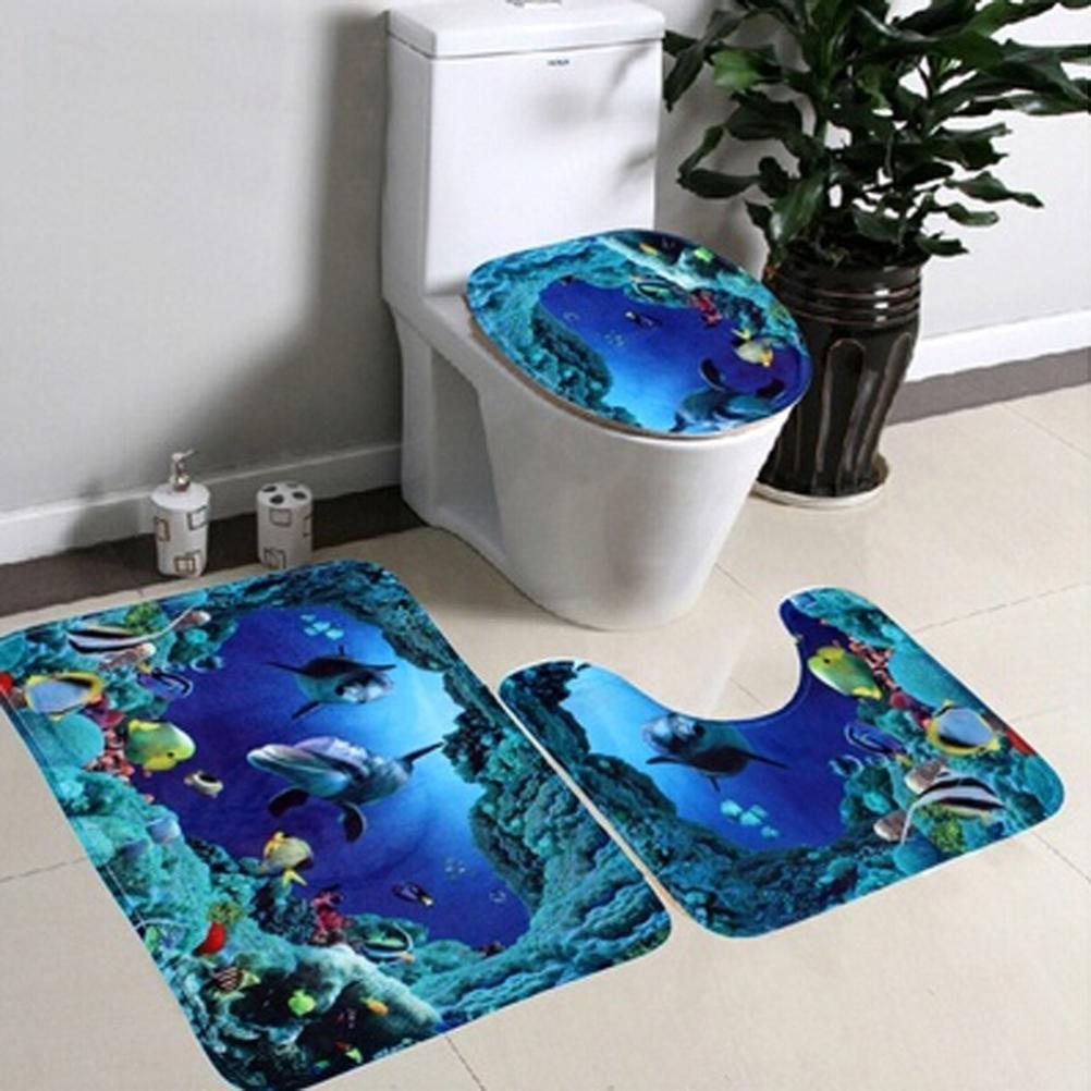 Gillberry 3pcs/set Bathroom Non-Slip Blue Ocean Style Pedestal Rug + Lid Toilet Cover + Bath Mat (Blue)