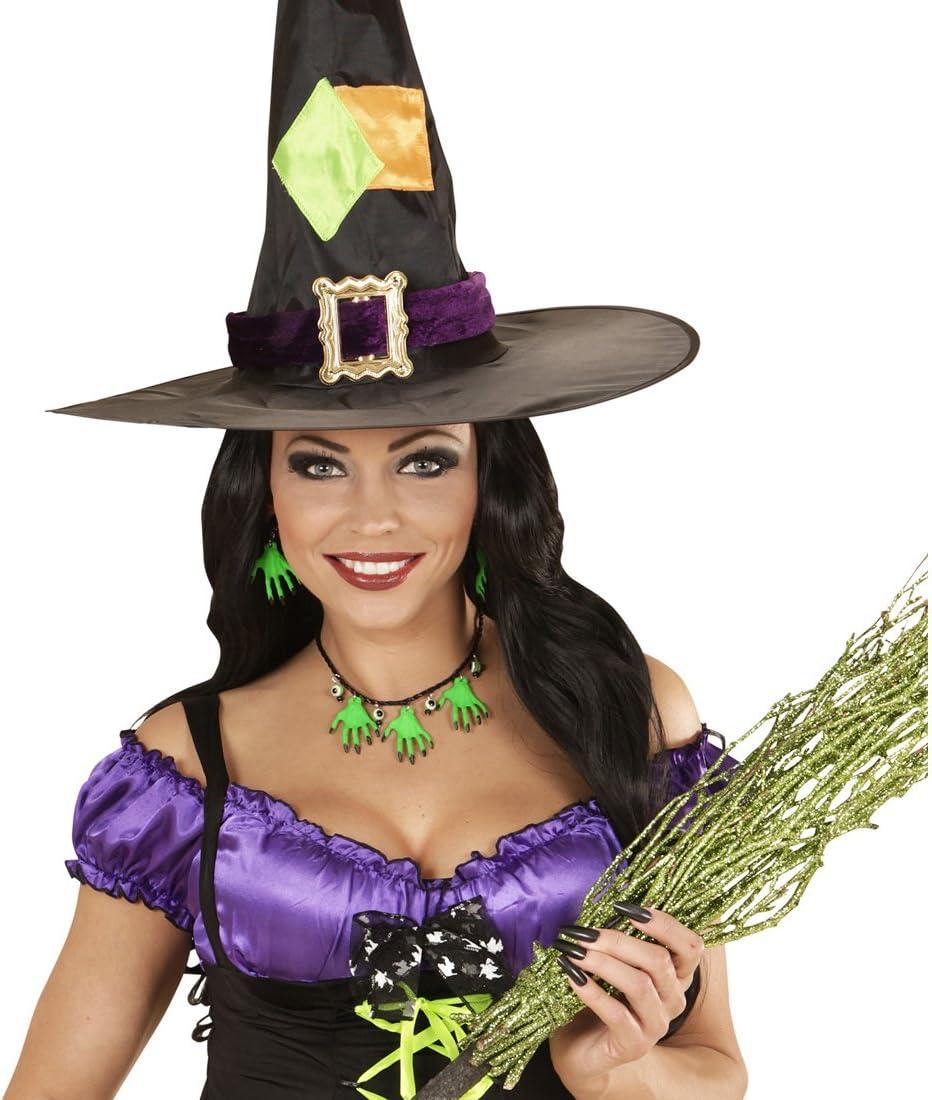 Amakando Collar Halloween Cadena y Pendientes de Bruja Verde ...