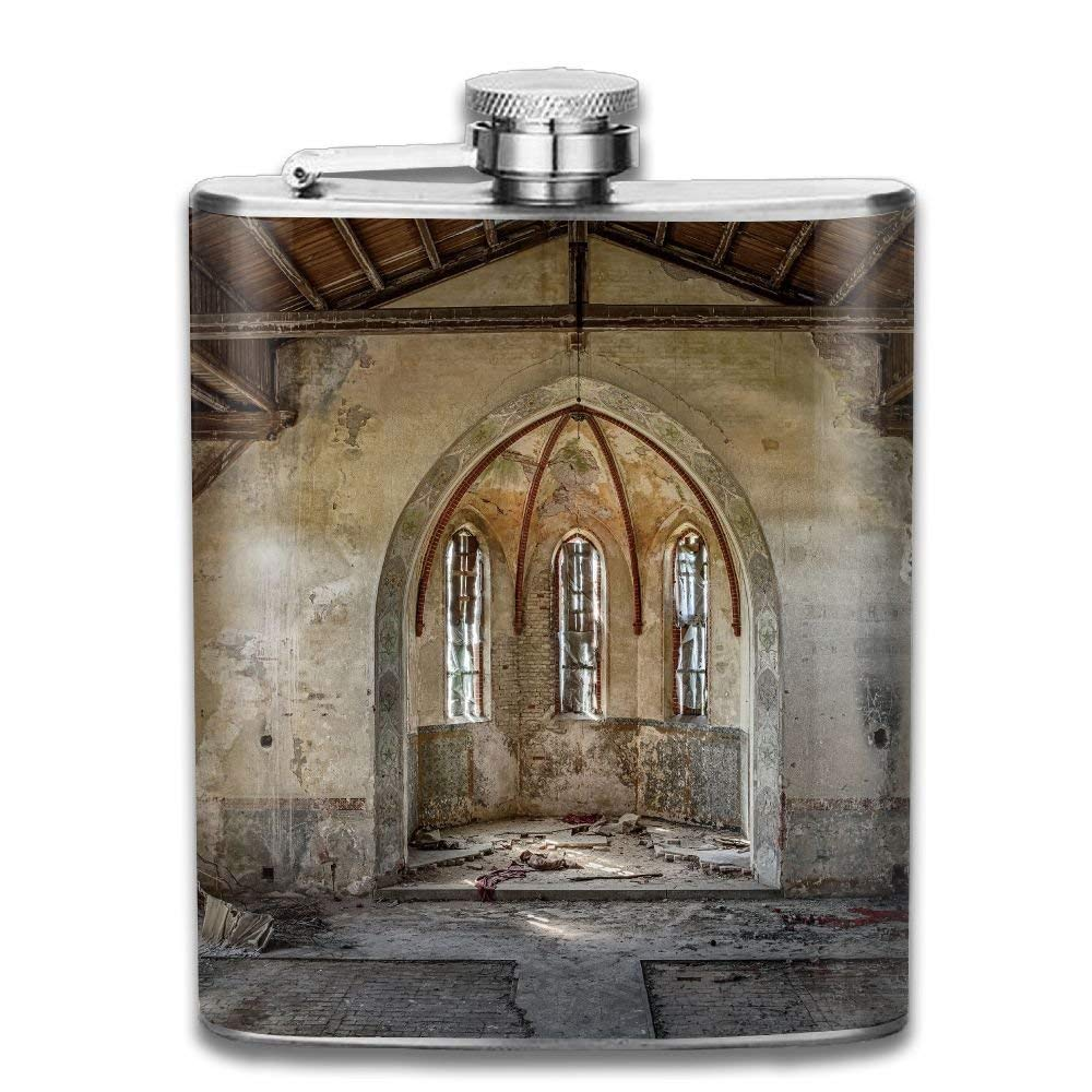 Gxdchfj Inner Ancient Broken Church with Arched Historic Belief Place New Brand 304 Stainless Steel Flask 7oz