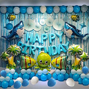 Shark--Birthday Party Backdrop Decorations Marine Animals Ocean Animals Themed Balloon Birthday Party Supplies Fish Balloon Sea Animals Themed Backdrop Decorations For Birthday Party, More Than 80 Pcs For Your Ocean Themed Birthday Party.