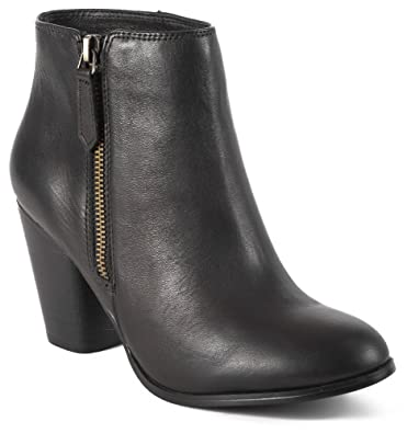 Zoe Black Leather Ankle Boots With Rounded Toe Shape and Outside Zipper With Stacked Heel